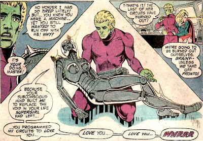 Superboy and the Legion of Super-Heroes #204, Brainiac holds his dying Supergirl sex-bot robot, Mike Grell