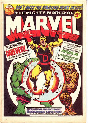Mighty World of Marvel #20, Daredevil makes his first appearance and origin, yellow and red costume