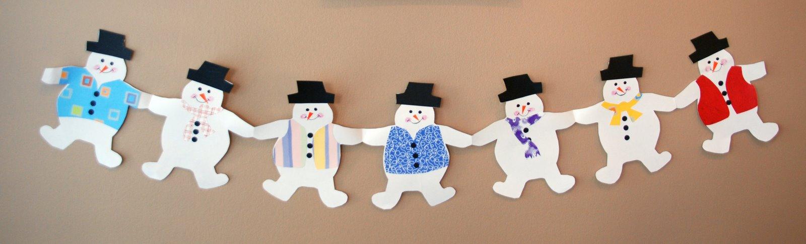 Гирлянды снеговики из бумаги своими руками