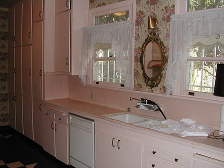 Pink kitchen prior to remodeling by Newman & Wolen Design