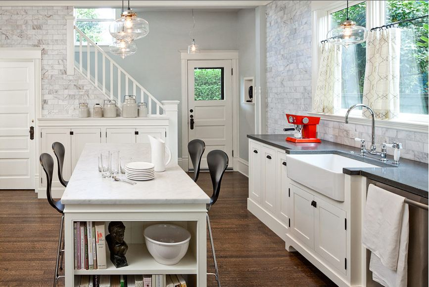 COCOCOZY: DESIGN IDEA: WHEN IN DOUBT, JUST TILE THE WALL! - White Glass Subway Tile Backsplash