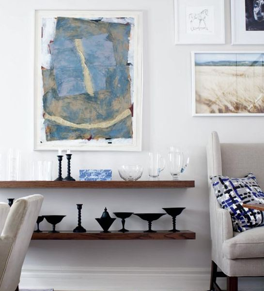Cococozy blue and grey all the way in a small victorian - Open shelving living room ...