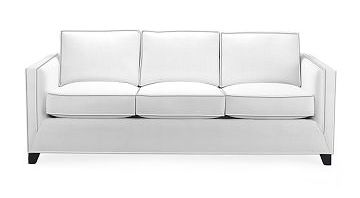 White sofa with grey piping from William Sonoma Home