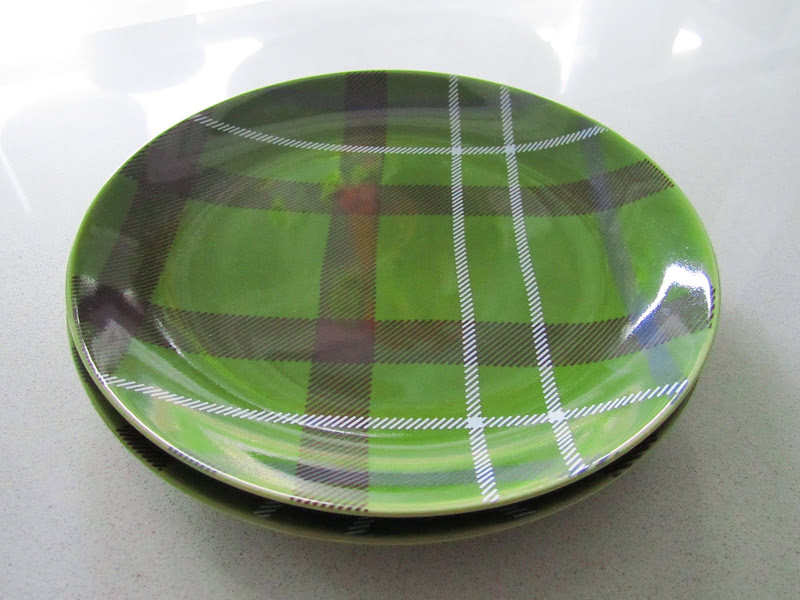 Green, brown, blue and white plaid plate from Crate and Barrel