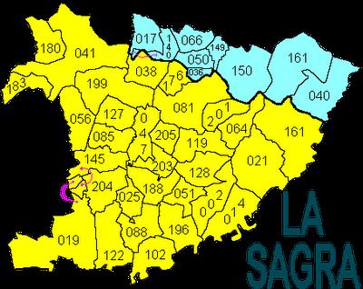 el mapa de La Sagra con indicación de cada municipio con las 3 últimas cifras del número INE