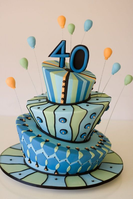 Birthday Cake 40 Year Old This Bright And Colourful Design Is Perfect As A