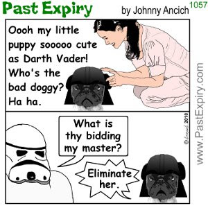 [CARTOON] Good Pugs Gone Bad.  images, pictures, animals, cartoon, DarthVadar, dogs, violence