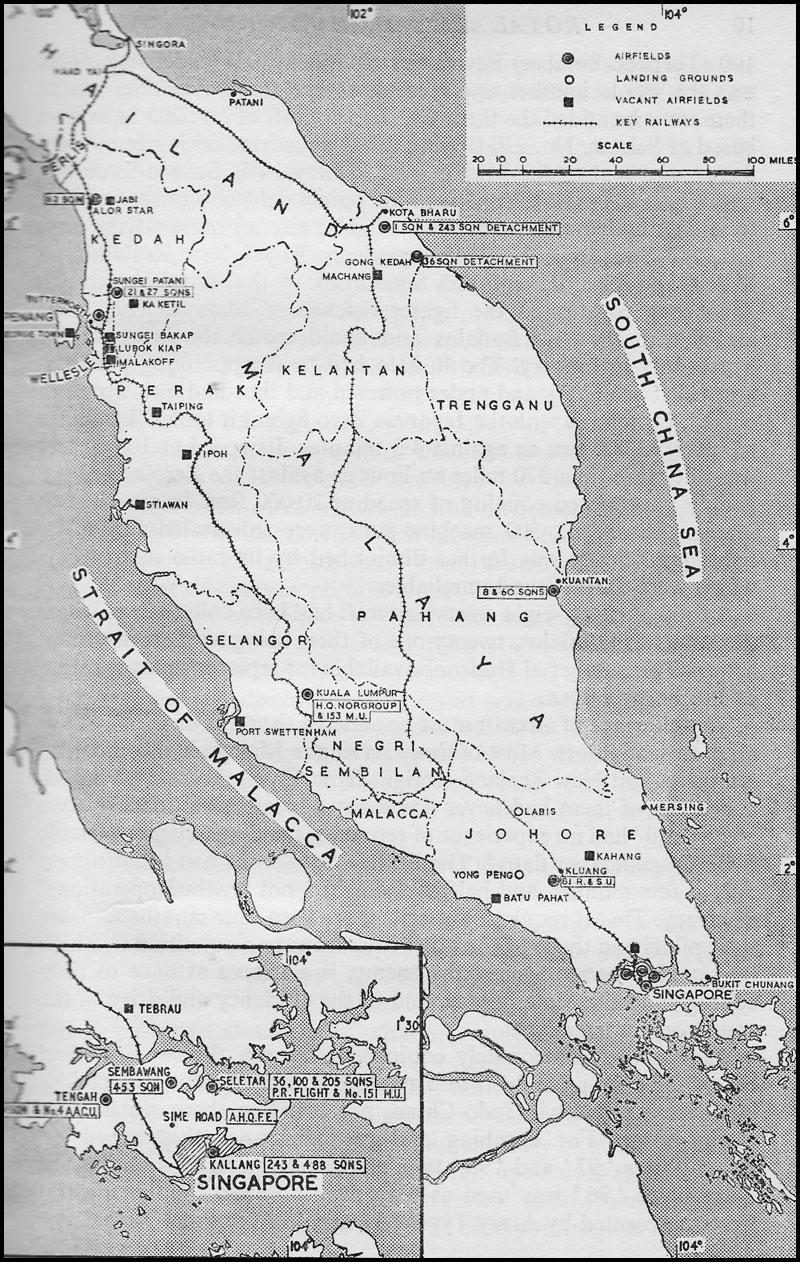 Malaya Command Map of Malaya Dec 1941 showing RAF