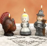 Tradition of Pilgrim and Turkey Candle Set by Vermont Country Store