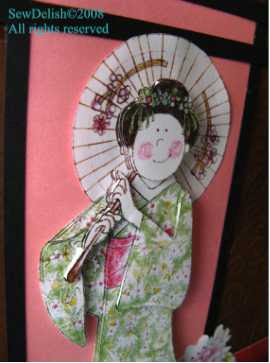 Oriental kimono paper tole Chinese Japanese card