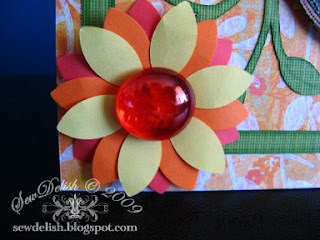 Exotic Orange Cricut Card EK Success whale punch flowers