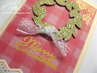Sewdelish make Cricut Design Studio and Cuttlebug Christmas Pink Card