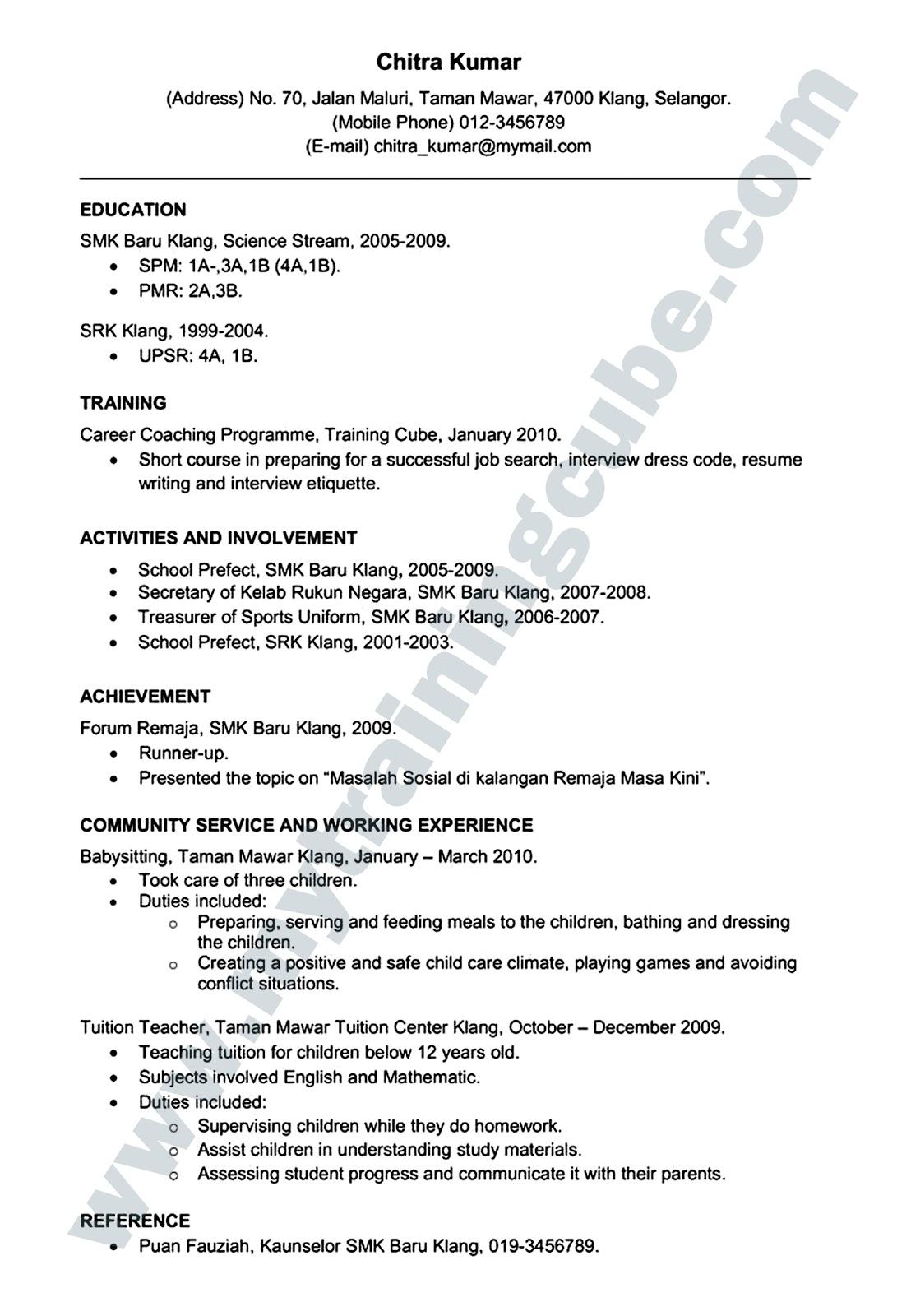 Contoh Resume Untuk Lepasan Spm - Contoh 36