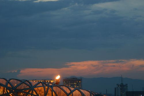 Sunset over Olympic Flame
