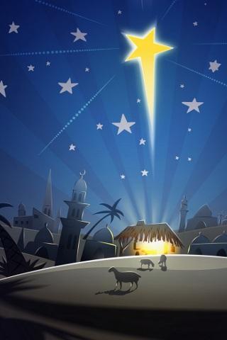 besplatne animirane božićne čestitke 320x480 besplatne slike za mobitele: Božićno selo i zvijezda  besplatne animirane božićne čestitke