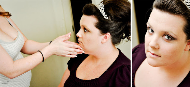 Bride for a las vegas wedding getting photographed with her makeup being applied