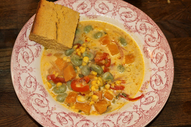 succotash and cornbread, from my Little House on the Prairie Thanksgiving supper club