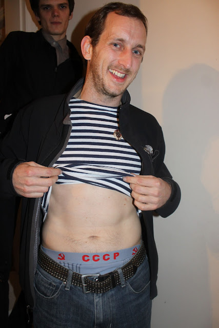 Guest wearing Russian naval wear, the striped T shirt and Russian underwear.