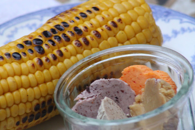 """Roasted corn on the cob with flavoured butters: olive, piquillo pepper and lime, truffle and maple. """"Which butter flavour did you prefer?"""" I asked a guest. """"Maple and olive"""" he said. Guests were mixing and matching their own butters.New Year's Eve supper club"""