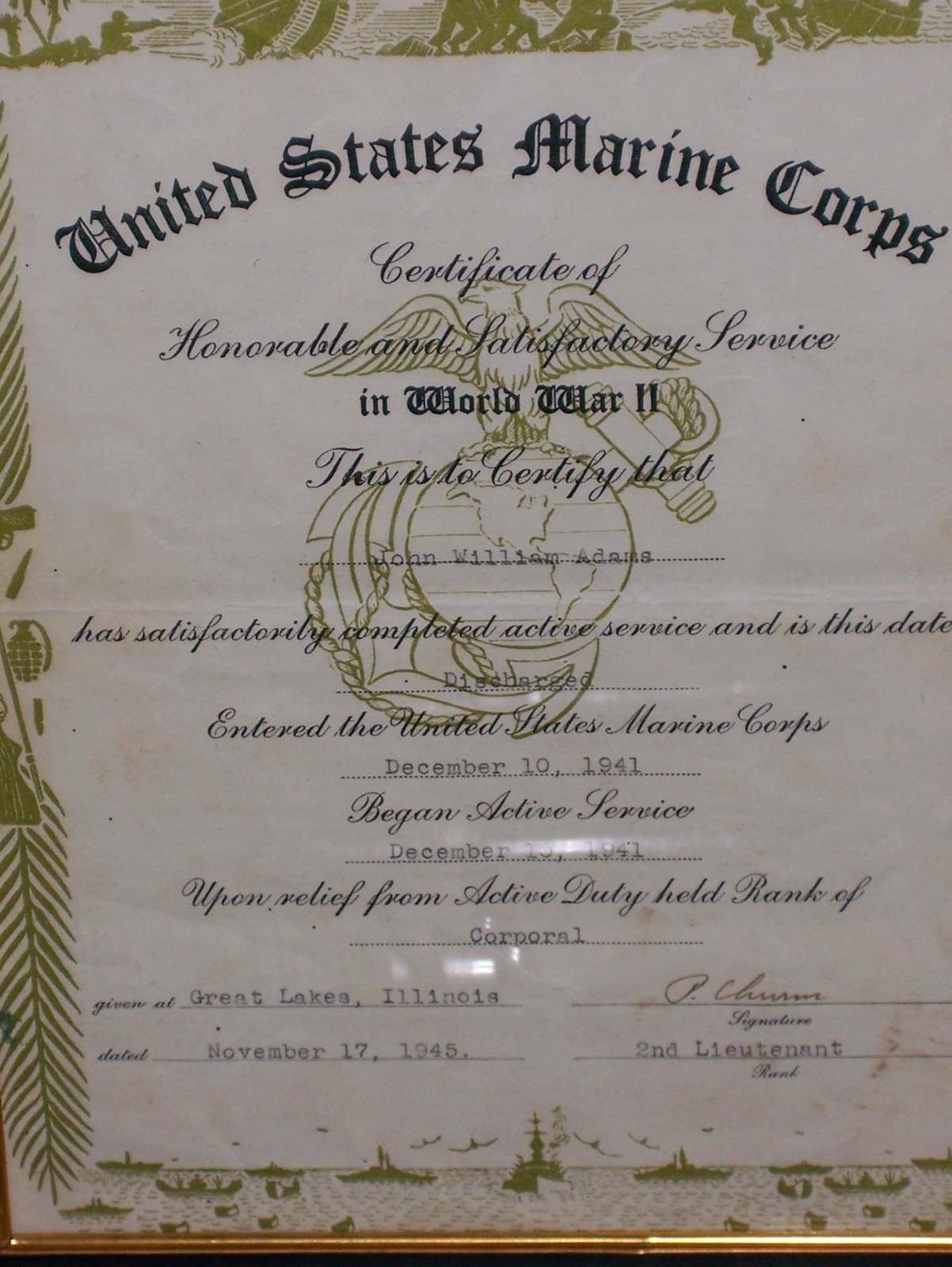 John Adams, Enlistment Date December 10, 1941
