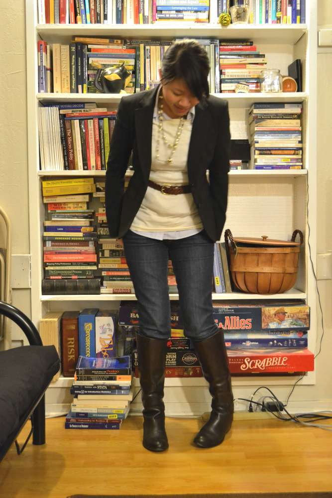 sacramento office fashion blogger angeline evans the new professional business casual friday skinny jeans franco sarto boots layered necklaces