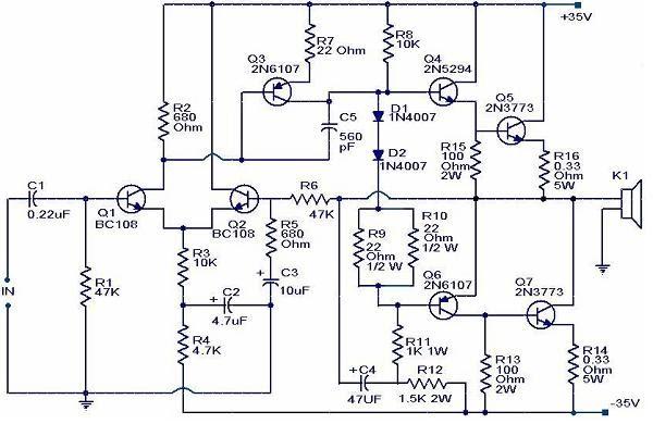 Skema Rangkaian Power Amplifer 100 Watt