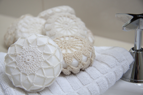 How to make doily covered soaps...