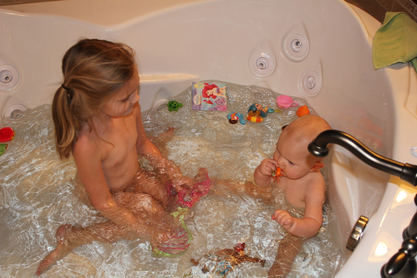 almost naked young girl by tub