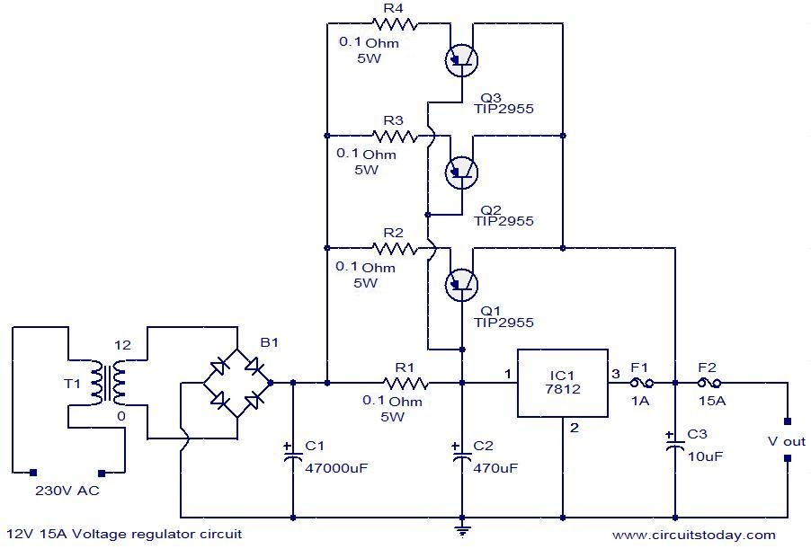 Skema Power Supply Regulator: 12V 15A voltage regulator