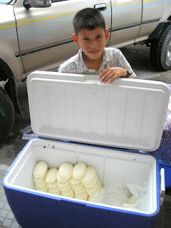 boy selling cheese, La Ceiba, Honduras