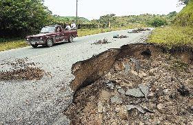 road washed away, Honduras