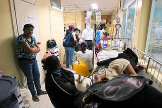 patients in hospital hallway in Honduras