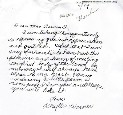 His Nibs: A Handwritten Thank You Note to Eleanor