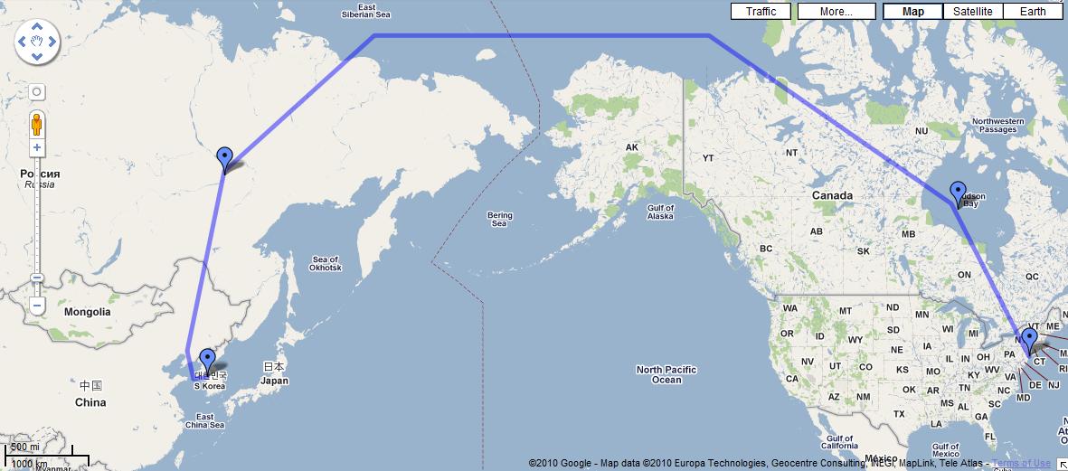 South jfk flight to korea