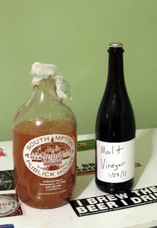 White wine vinegar about to start, malt (beer) vinegar a year into the process.