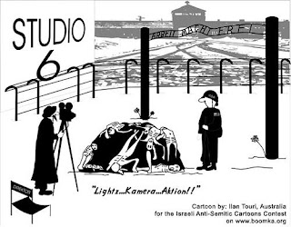 cartoon contre l'exploitation de la Shoah