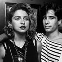 Singer Madonna (L) w. D.J. Jellybean Benitez (R) at opening of video club
