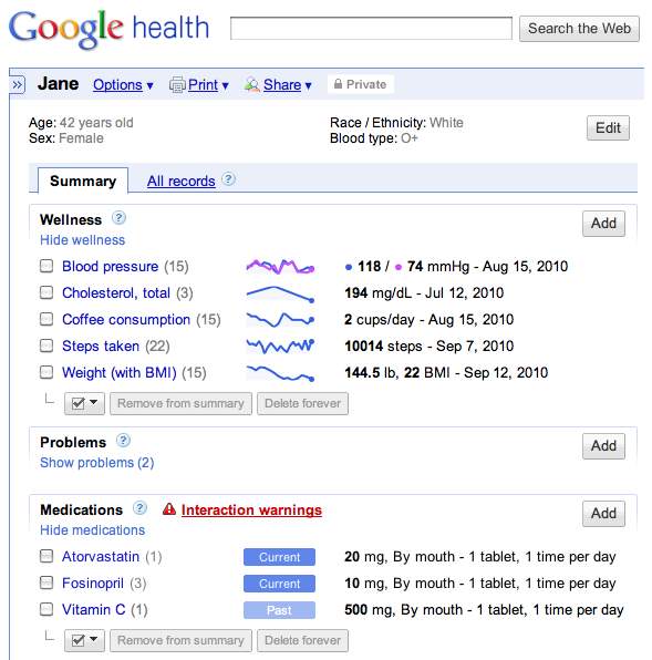 Google Health Screen Shot 1