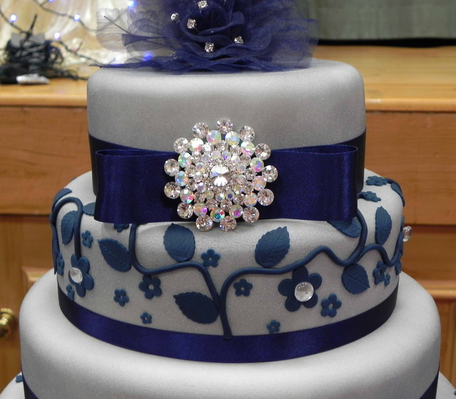 Cake By Lisa Price Silver And Blue Wedding Cake