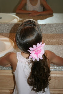 Back view of Tween Knotty Side Ponytail