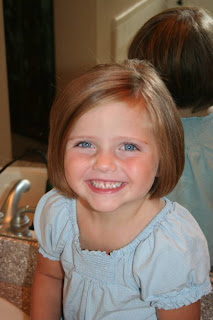 Portrait of young girl with A-Line Bob Haircut