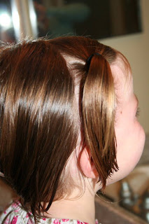 """Side view of young girl's hair being styled into """"twisty buns"""" hairstyle"""
