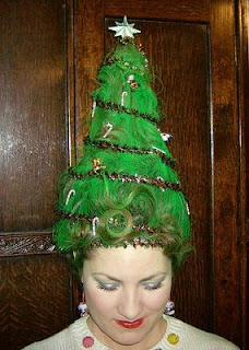 Christmas tree inspired hair