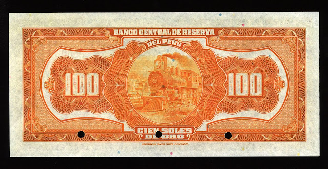 America Peru paper money currency 100 soles bill