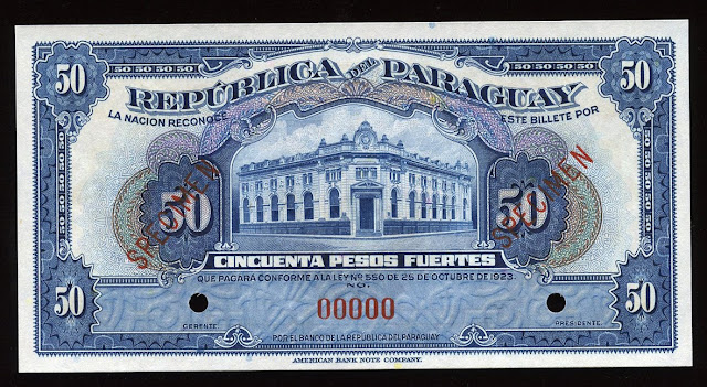 Paraguay currency 50 pesos fuertes