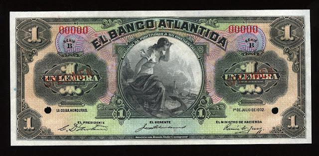 Honduras currency Lempira banknotes Banco Atlantida