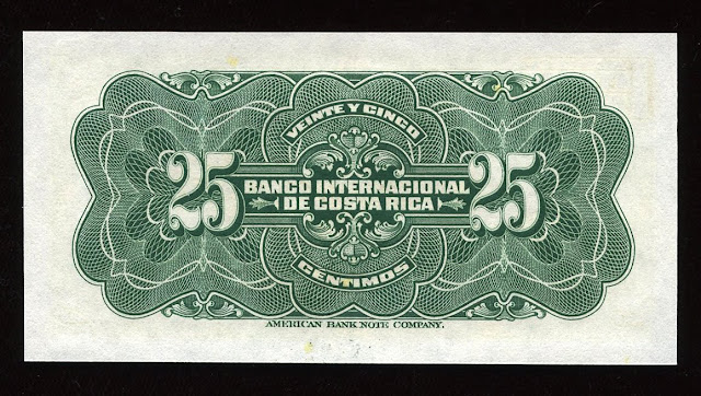 Costa Rica currency 25 Centimos banknote