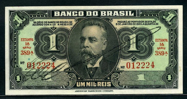 Brazil money Brazilian Mil Reis note