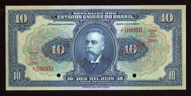 Brazilian banknotes currency 10 Mil Reis bill