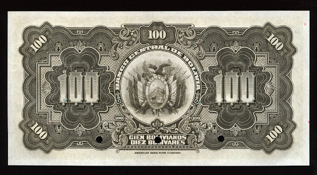 Billete 100 Bolivian bolivianos Notafilia Numismática collecting paper money Papiergeld